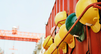 Image of Hard hats on a wall
